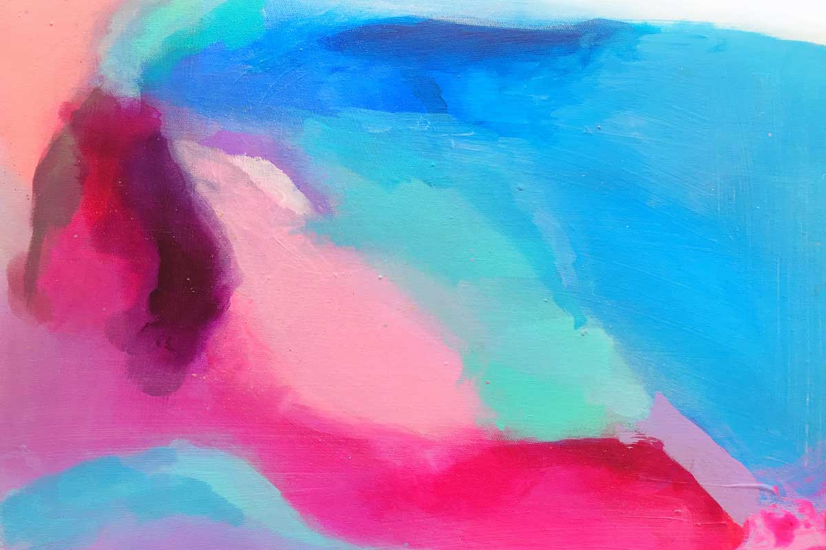 abstract blue and pink art